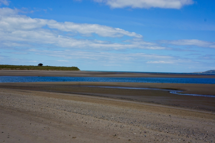 View looking east from Malahide Beach at low tide