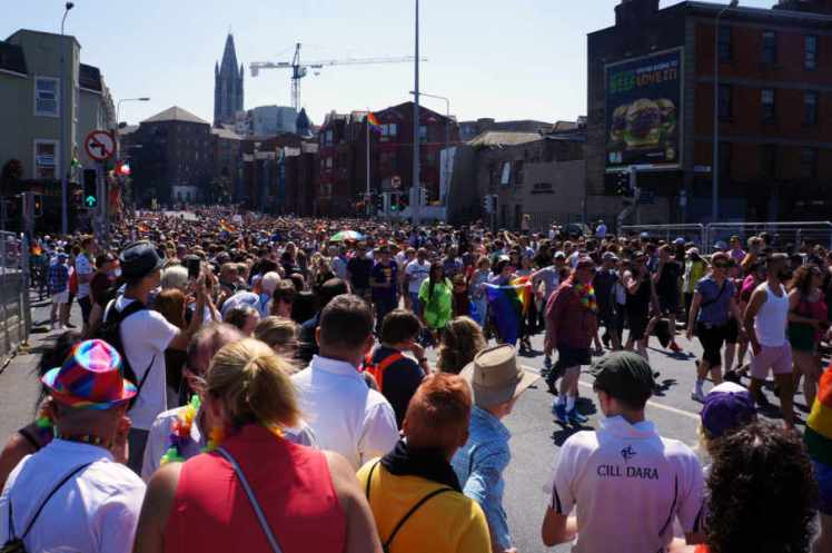 Thousands of people attending Pride Parade in Dublin.