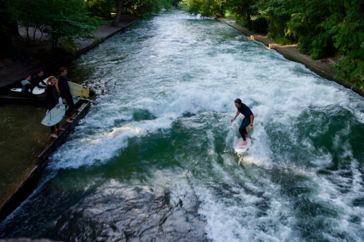 Surfers on the river in Munich